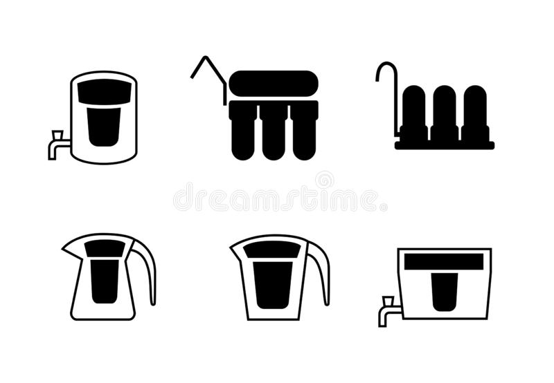 Set of water purifier icons in silhouette, vector vector illustration