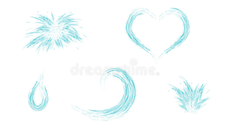 Set of water splash heart wave and drop stock illustration
