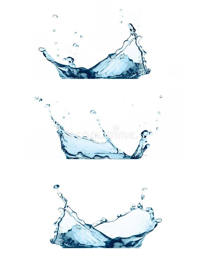 Set of Water Splashes Isolated on White royalty free stock images