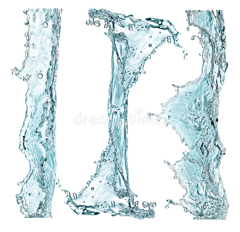 Set of water splashing isolated on white royalty free stock image