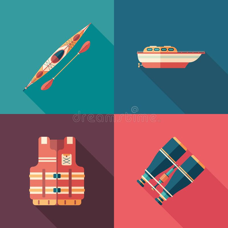 Set of water sports flat square icons with long shadows. stock illustration