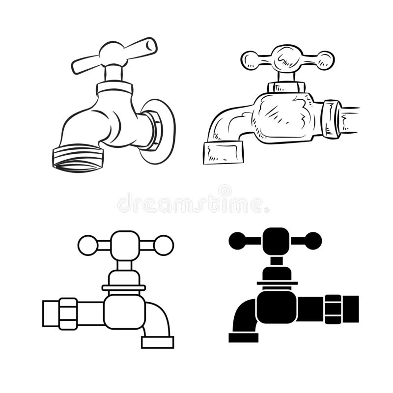 Set of Water Tap isolated on white background, Vector Illustration stock illustration