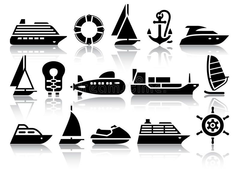 Set of Water transport black icons royalty free stock photos
