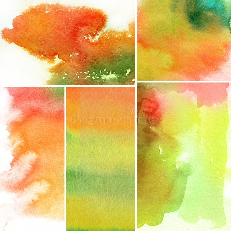 Set of watercolor abstract hand painted backgrounds vector illustration