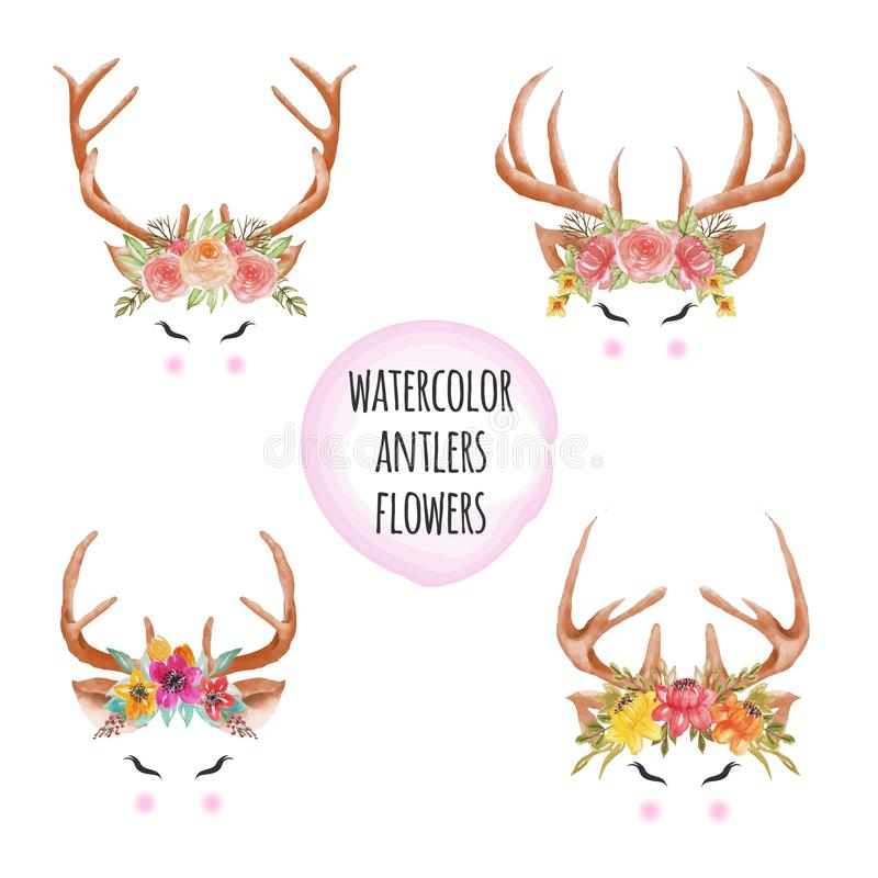 Set of Watercolor antlers flowers. Set of Watercolor beauty antlers flowers, antler floral watercolor wreath vector illustration