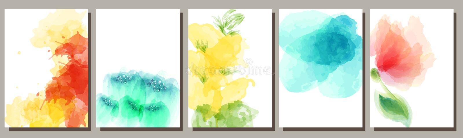 Set of watercolor backgrounds, flowers, design of postcards, invitations, advertisements stock illustration