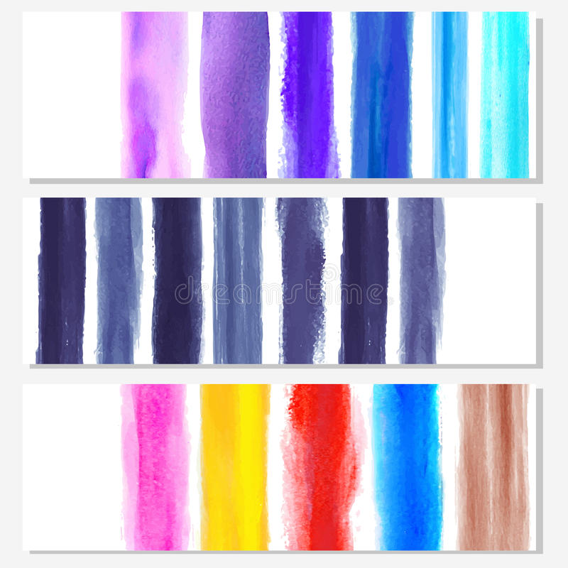 Set of watercolor banners vector illustration