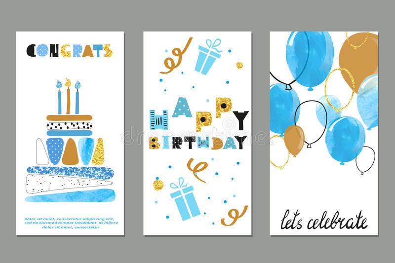Set of watercolor birthday greetings card design stock illustration