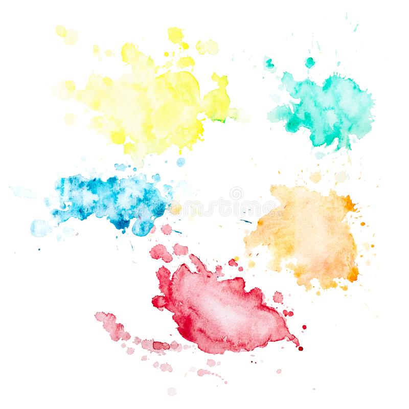 Set of 5 watercolor blots with splashes and stains royalty free illustration