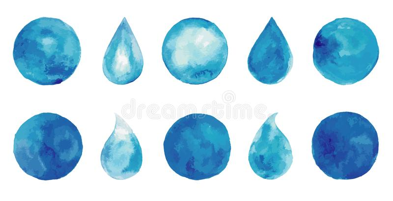 Set of watercolor blue splashes and drops. Blue watercolor spots. Indigo watercolor logo set. Hand drawn painting blobs. Texture emblem, sign label. Eco water royalty free illustration