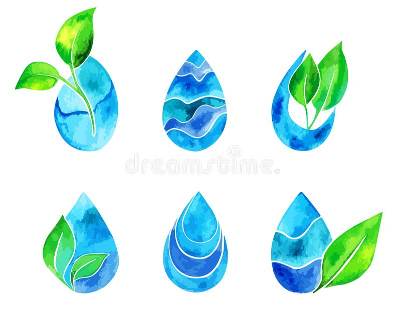 Set of watercolor blue splashes and drops. Blue watercolor spots. Indigo watercolor logo set. Hand drawn painting blobs. Texture emblem, sign label. Eco water stock illustration