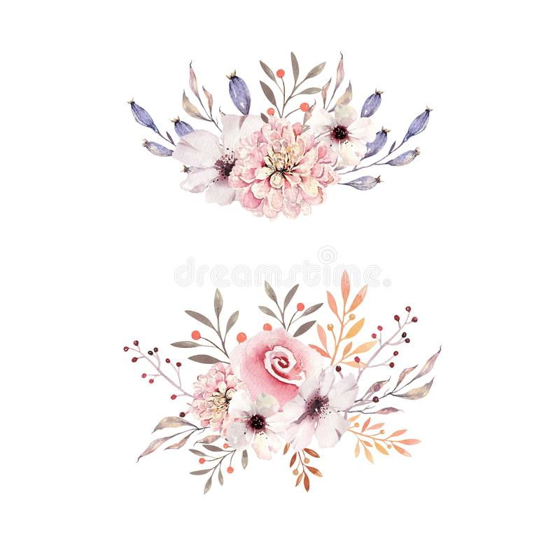 Set of watercolor boho floral bouquets. Watercolour bohemian natural frame: leaves, feathers, flowers, Isolated on white royalty free illustration
