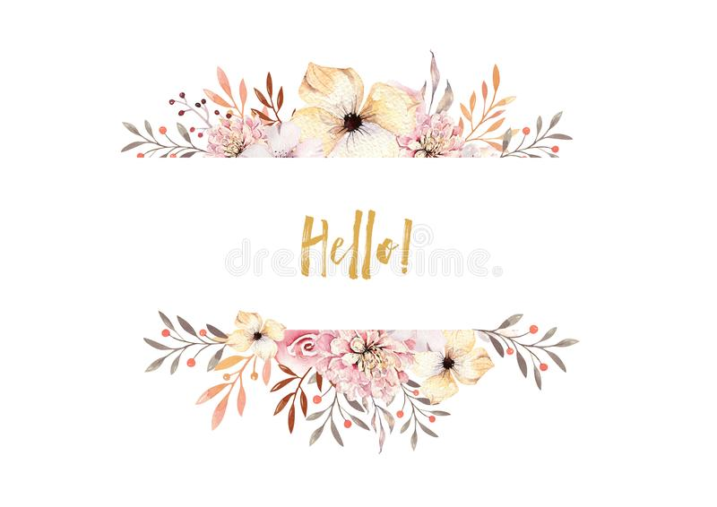 Set of watercolor boho floral bouquets. Watercolour bohemian natural frame: leaves, feathers, flowers, Isolated on white. Background. Artistic decoration