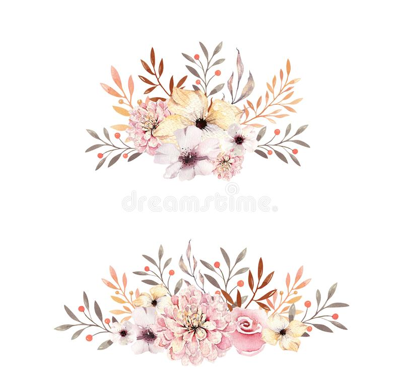 Set of watercolor boho floral bouquets. Watercolour bohemian natural frame: leaves, feathers, flowers, Isolated on white stock illustration