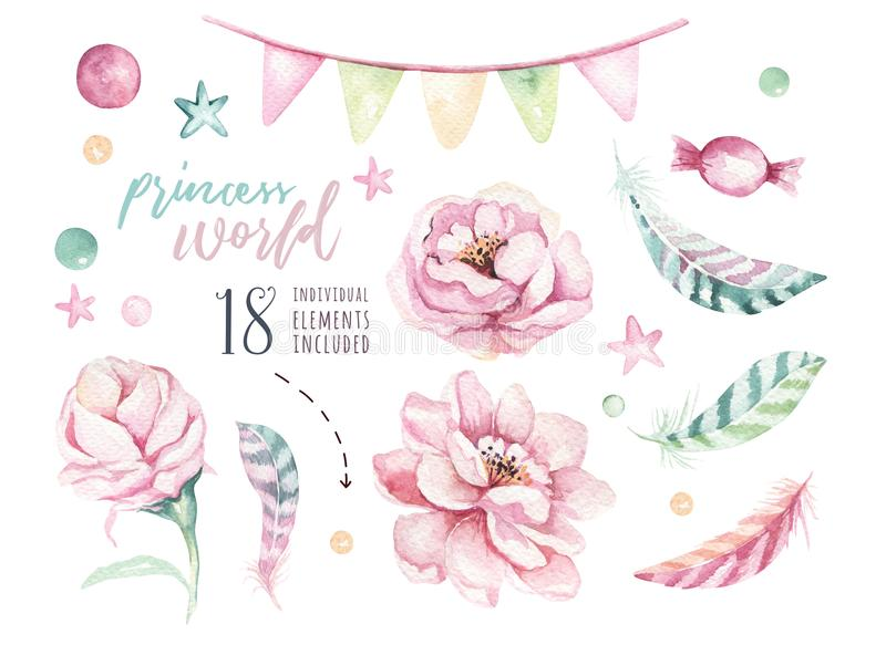 Set of watercolor boho floral elements. Foliage Watercolour bohemian natural frame: leaves, feathers, flowers, Isolated. Set of watercolor pink and gold boho