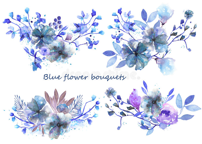Set Of Watercolor Bouquets With Blue Flowers And Leaves Stock ...