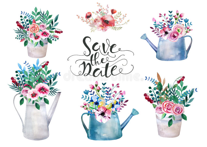 Set of watercolor bouquets. spring flowers in pot. Rustic. Set of watercolor bouquets . spring flowers in pot. Rustic outdoor floral set . shabby chic style stock illustration