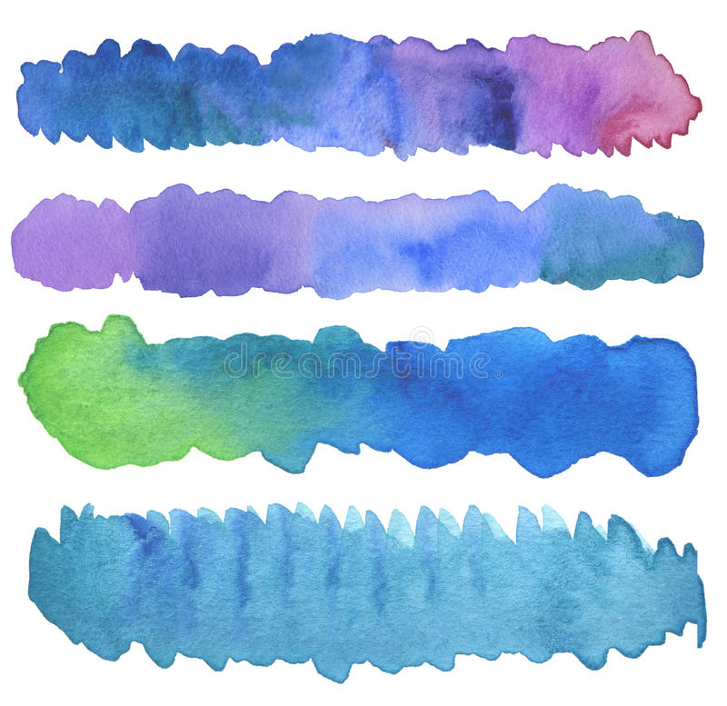Set of watercolor brush strokes. Isolated on white royalty free stock photo