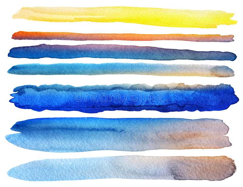 Set of watercolor brush strokes. Isolated on white stock photography