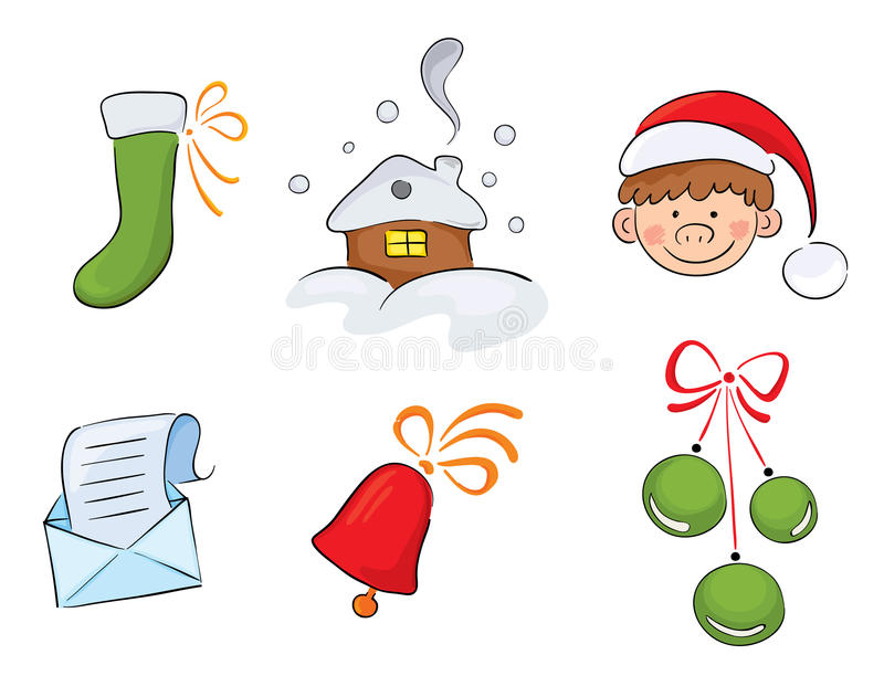 Set Of Watercolor Christmas Images Royalty Free Stock Images