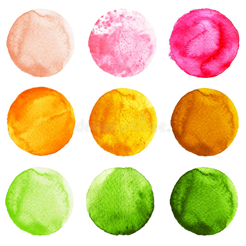 Set of colorful watercolor circles isolated on white. Set of watercolor circles isolated on white background. Watercolour illustration for design element, logo vector illustration