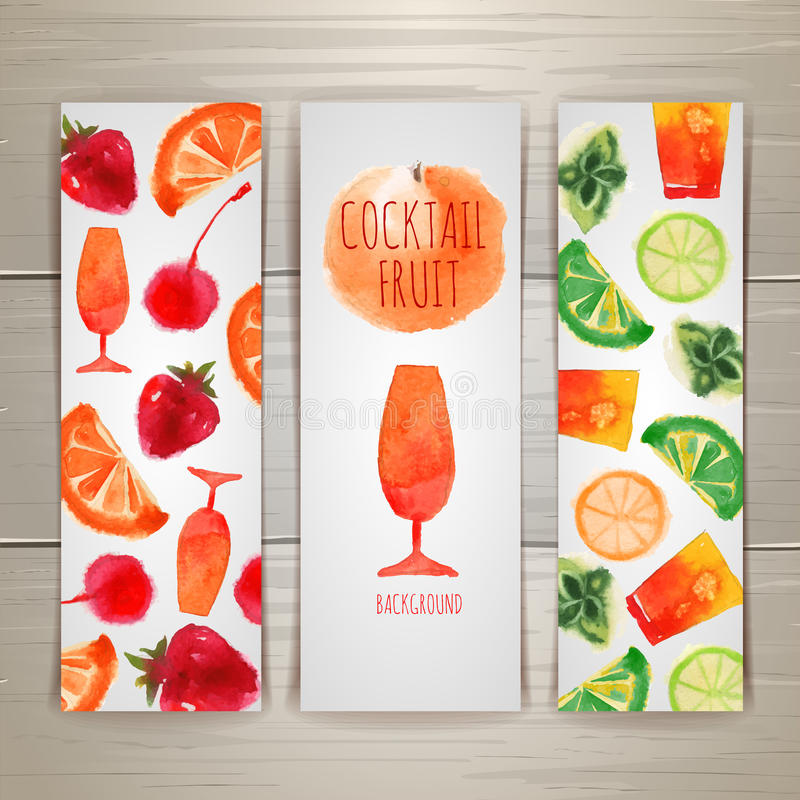 Set of watercolor cocktail banners stock illustration