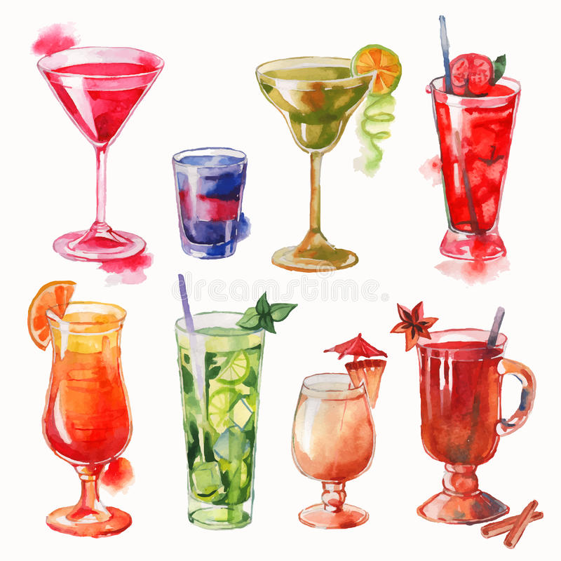 Set of watercolor cocktails stock illustration
