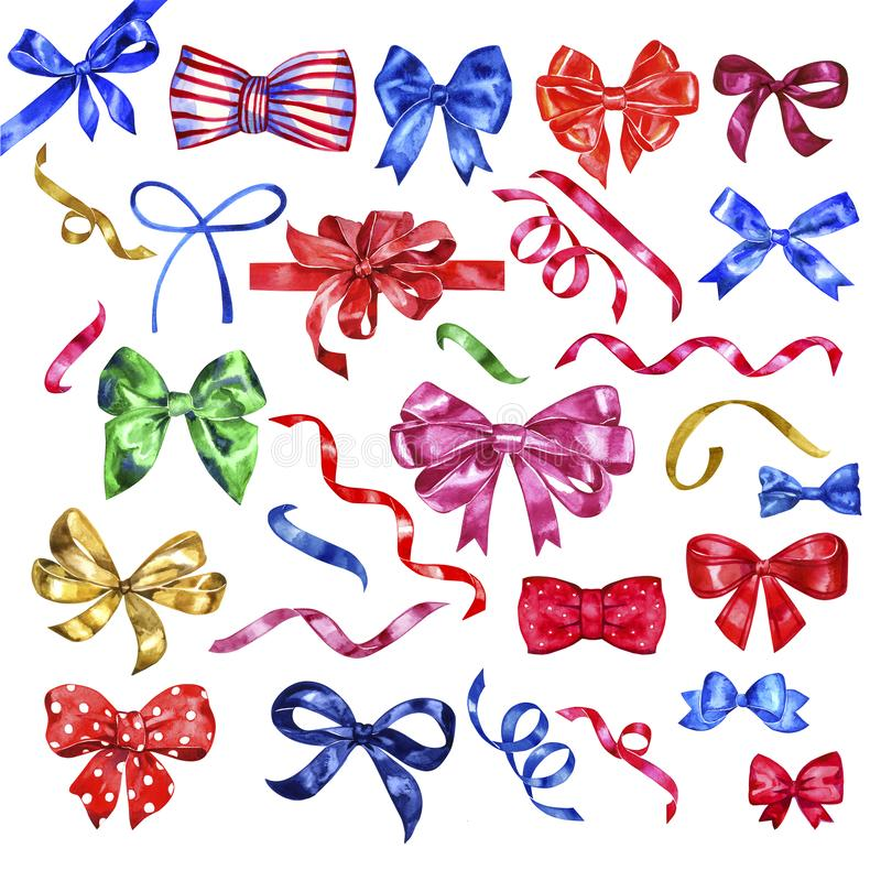Set of watercolor colorful bows, hand painted isolated. royalty free illustration