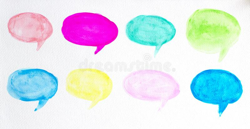 Set of watercolor colorful speech bubbles or conversation clouds, Hand drawn speech bubbles watercolor brush illustration stock illustration