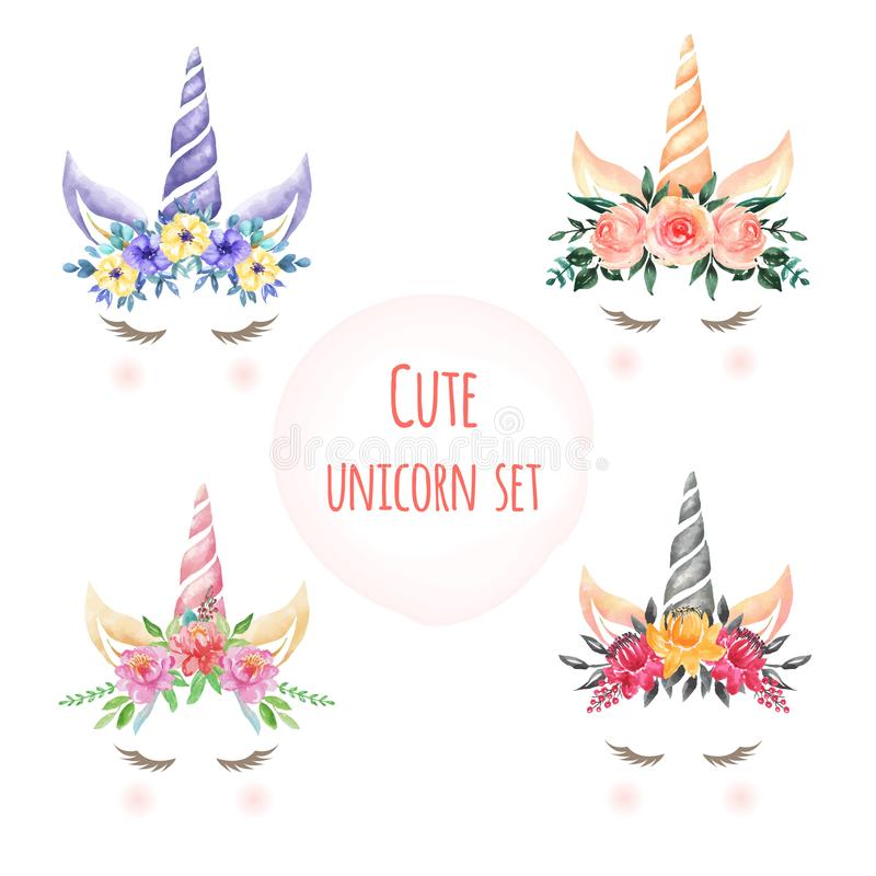 Set of Watercolor cute unicorn flowers royalty free illustration