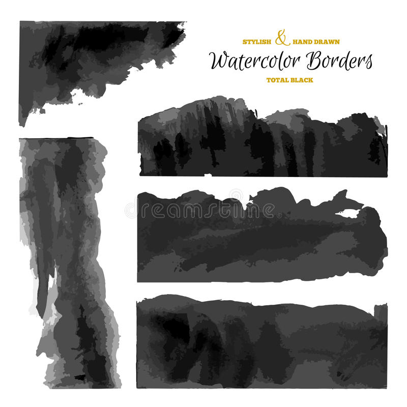 Set of 5 Watercolor Dark Stripes. Black Vector Borders. Hand Drawn Grunge Textures royalty free illustration