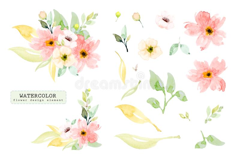 Set of watercolor design elements, hand painted flower branch royalty free illustration