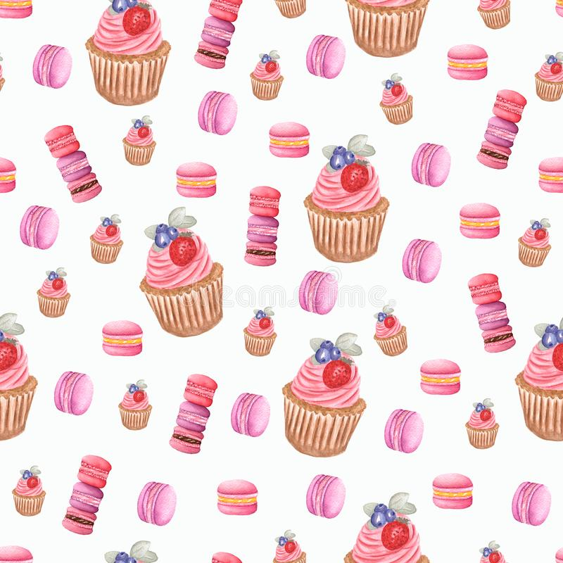 Watercolor cupcake and macarons in purple, red and pink colors. perfect for your design. stock illustration