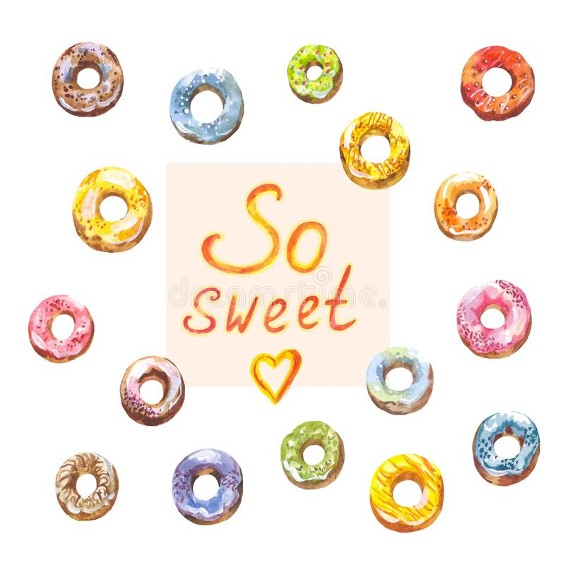 Set of watercolor donuts isolated on white. So sweet and sweet! Suitable for decorating cafe, bakery or menu. Bright watercolor donuts isolated . Collection of royalty free illustration