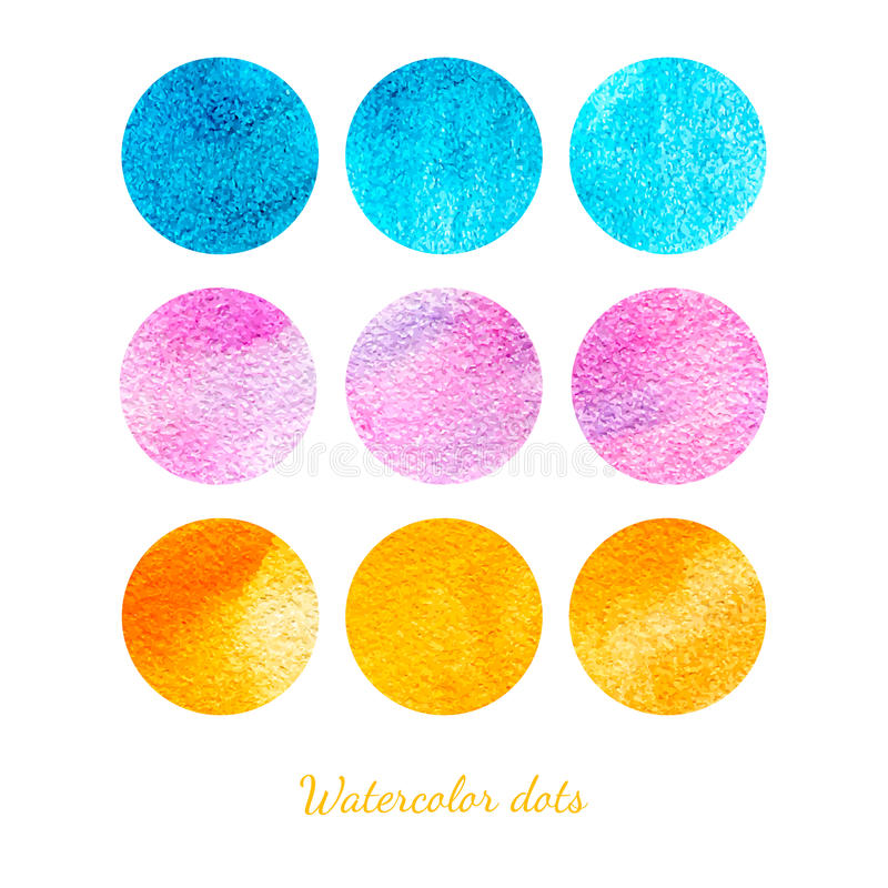 Set of watercolor dots. stock illustration