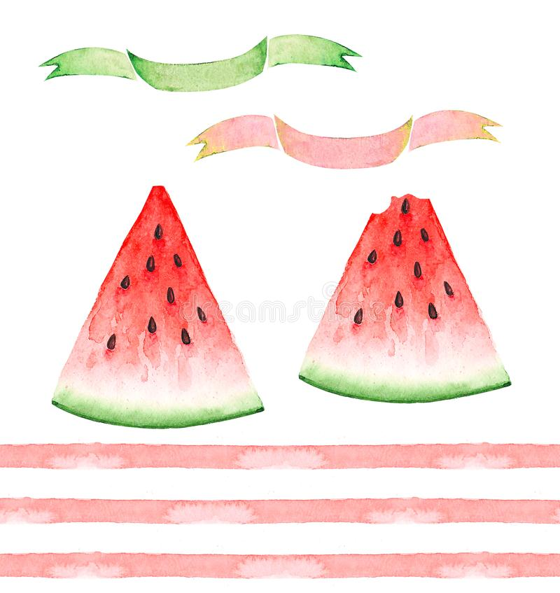 A set of watercolor drawings, slices of red watermelons, pink stripes and a banner royalty free illustration