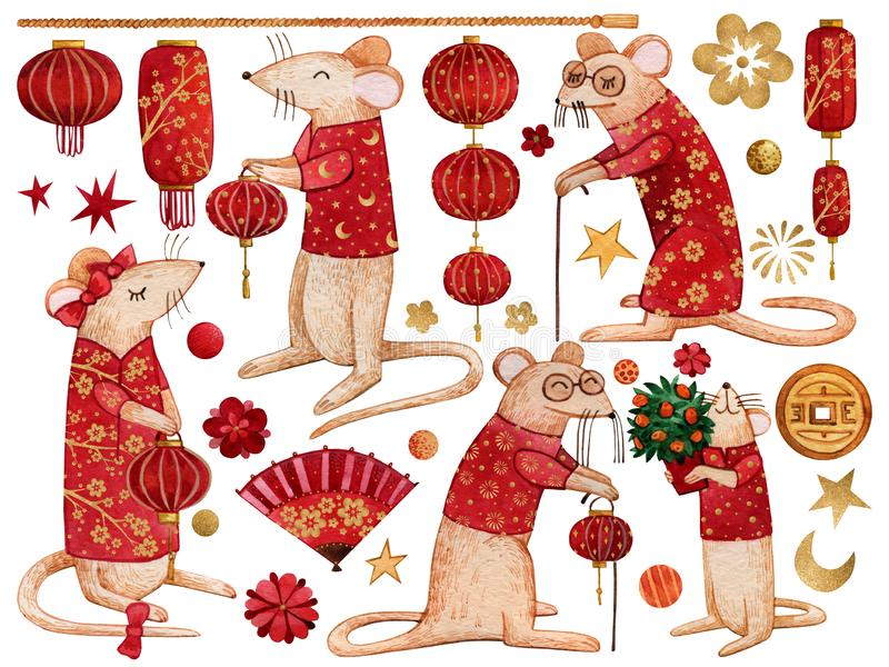 Set of watercolor elements with rats in red costumes for the celebration of the Chinese New Year 2020. vector illustration