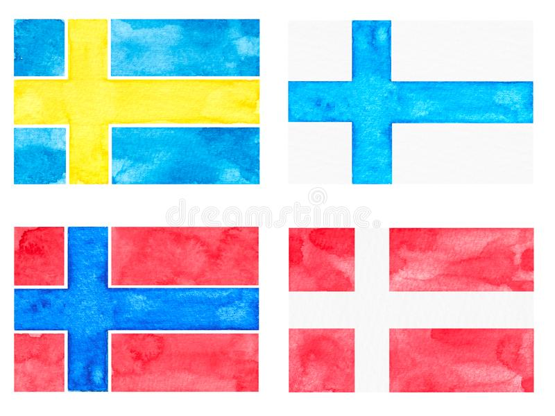 Set of Watercolor Flags. Countries: Denmark, Norway, Finland, Sweden vector illustration
