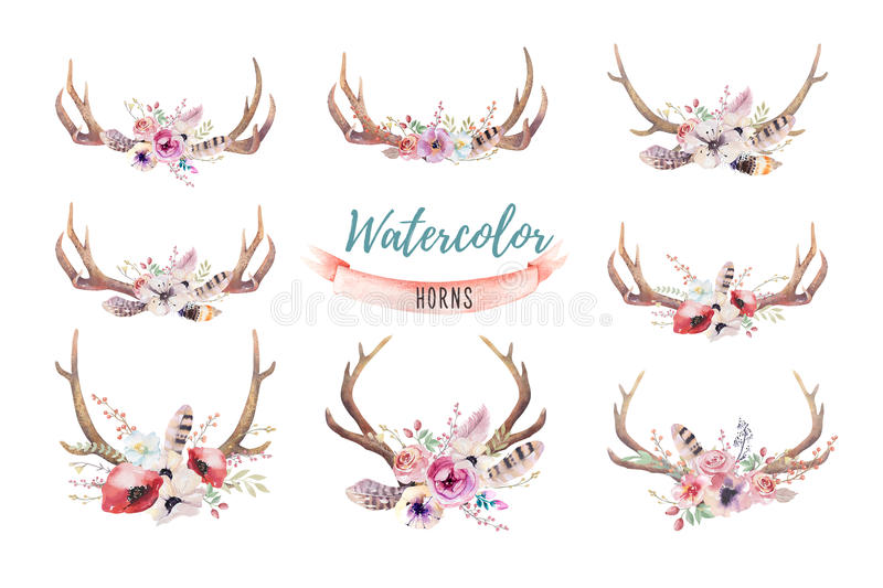 Set of watercolor floral boho antler print. western bohemian de. Coration. Hand drawn vintage deer horns with flowers, leaves and herbs. Eco style hipster vector illustration
