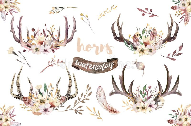 Set of watercolor floral boho antler print. western bohemian decoration. Hand drawn vintage deer horns with flowers. Boho Set of watercolor floral boho antler vector illustration