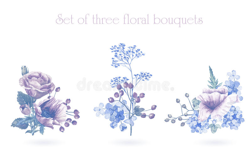 Set of watercolor floral bouquets for design. royalty free illustration