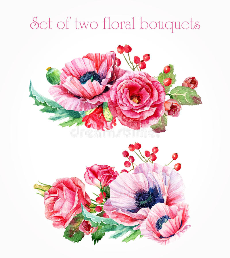 Set of watercolor floral bouquets for design. vector illustration