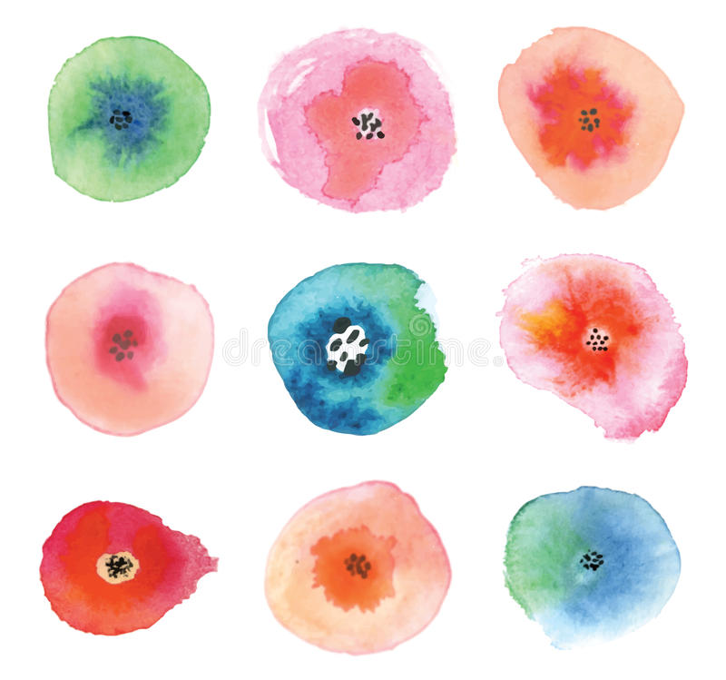 Set of watercolor flowers. stock illustration