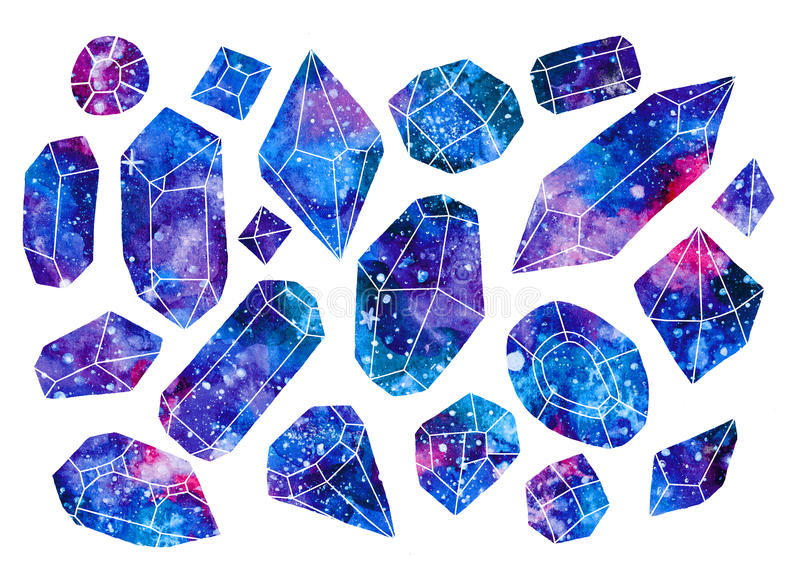set of watercolor galaxy gems or crystals stock illustration
