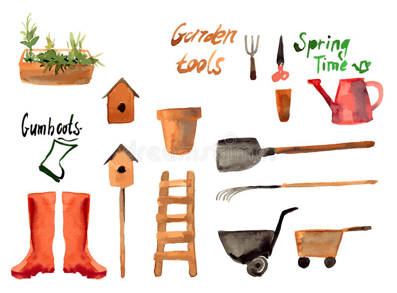 A set watercolor of gardening tool royalty free illustration