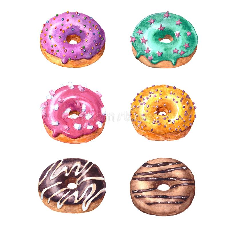 Set of watercolor hand drawn sketch illustration of colorful glazed donuts isolated on white background vector illustration