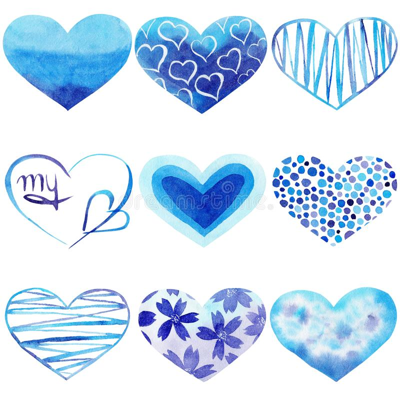 Set of Watercolor hand painted blue hearts. Symbol of love. stock illustration
