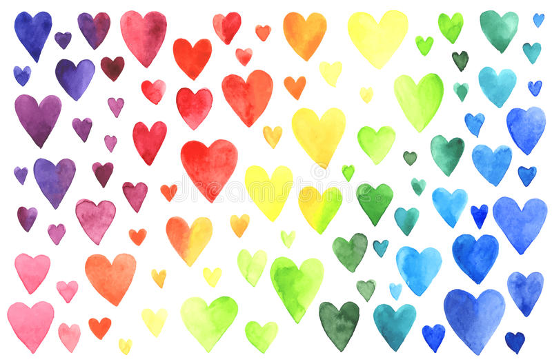 Set of watercolor hearts. Colors of rainbow. Vector illustration royalty free illustration