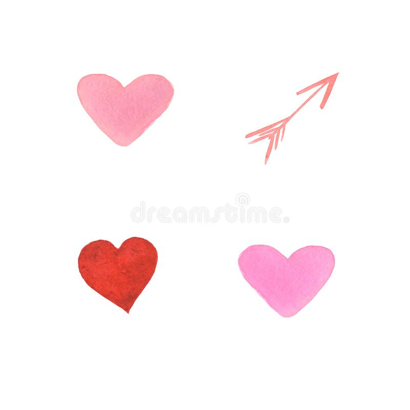 Set of watercolor hearts. Hand-drawn various hearts isolated on white background. Wedding or Valentine`s template. Valentine Day. Love card with red and pink stock images