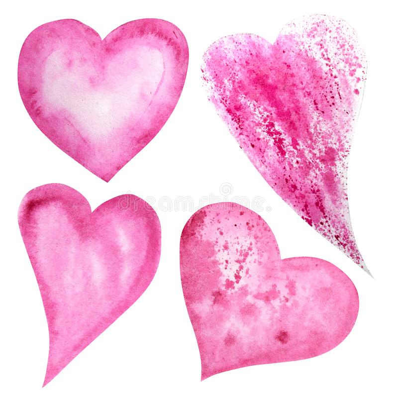 Set of watercolor hearts icon collection. Hand drawn various red pink hearts isolated on white background. Wedding or. Set of watercolor hearts icon collection royalty free illustration